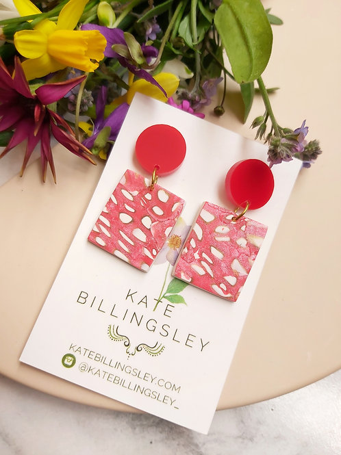 Small Red Spotted Designer Dangles - Polymer Clay