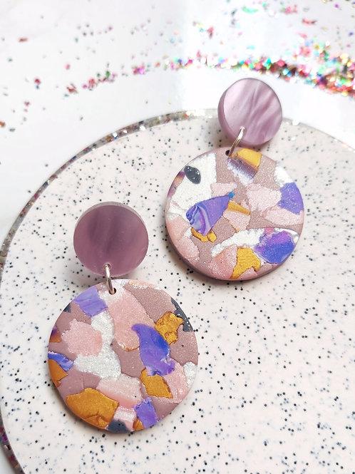 Terra Rosa small circle Designer Dangles - Polymer Clay