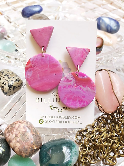 Marbled Fuschia small circle Designer Dangles - Polymer Clay