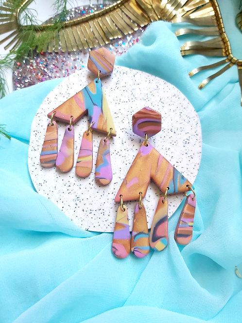 Spirit Animal Marble Mega Zenobia Designer Dangles - Polymer Clay