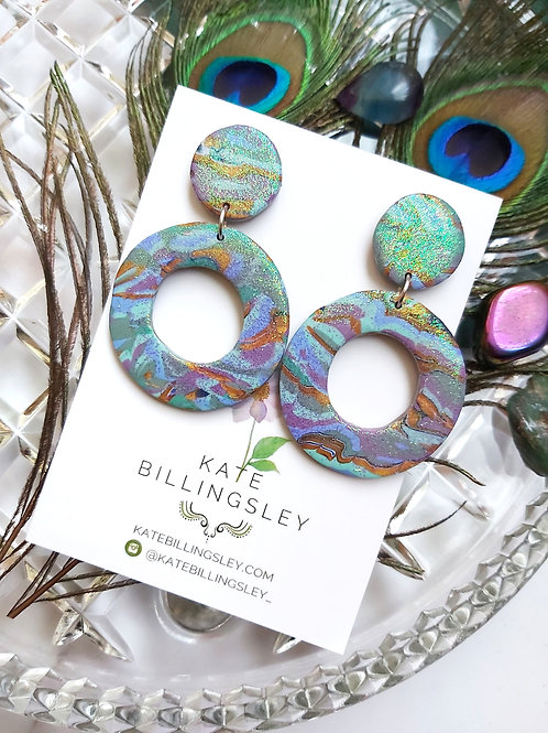 Lilac Mint Marbled Glitter Mega Groovy Designer Dangles - Polymer Clay