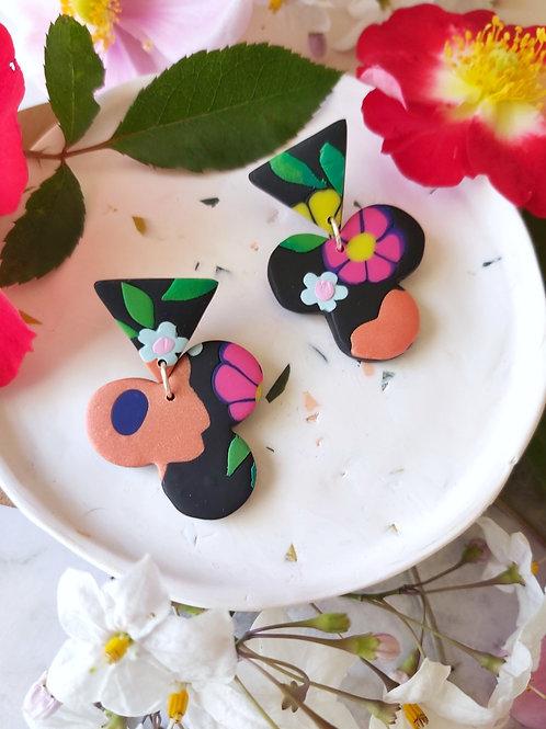 Flower Power Black Shamrock Designer Dangles - Polymer Clay