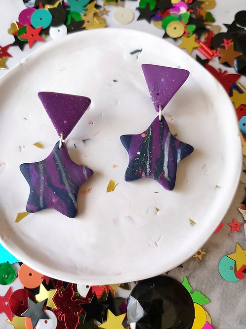 Discotheque small star Designer Dangles - Polymer Clay