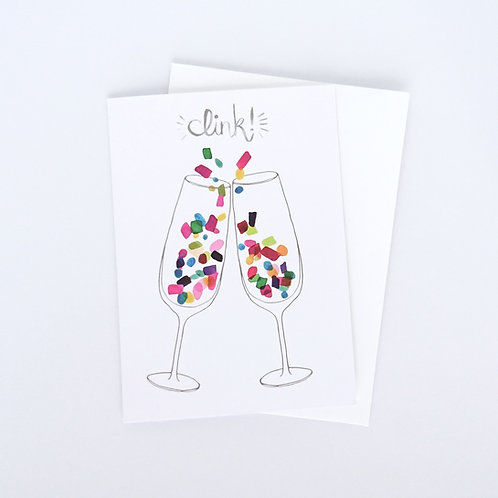 Clink Champagne Glasses Greeting Card