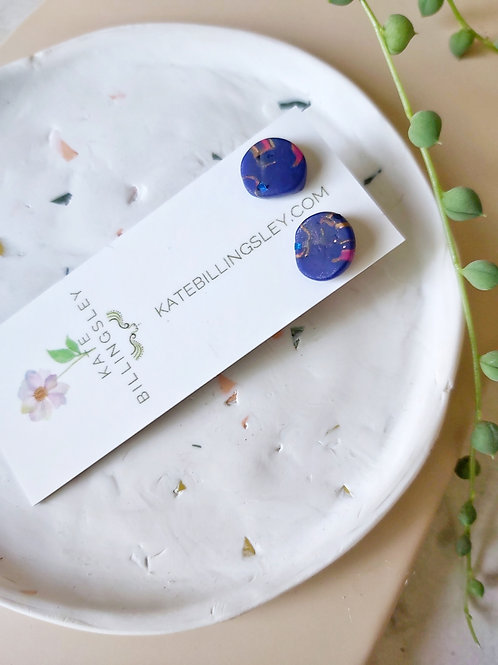 Mini Studs - Dark Blue organic circles veined with gold