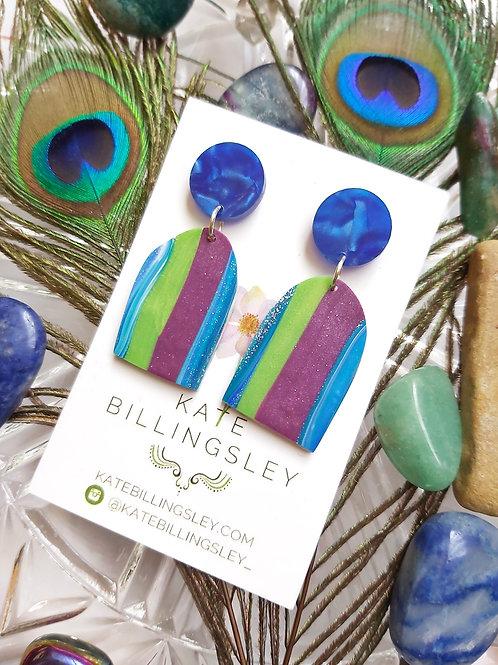 Striped Blue Purple Green small arch Designer Dangles - Polymer Clay
