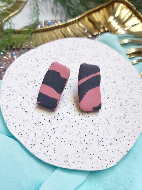 Spirit Animal Pink Tiger rectangle studs - Polymer Clay