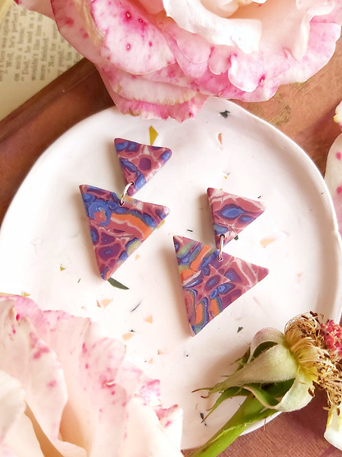 Venetian Paper Shop Small Blue Triangle Designer Dangles - Polymer Clay