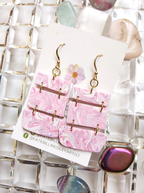Pink Lilac Stacked Geometric Designer Dangles - Polymer Clay
