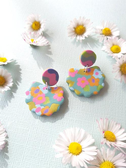 Garden Party Green Lorelei Designer Dangles - Polymer Clay