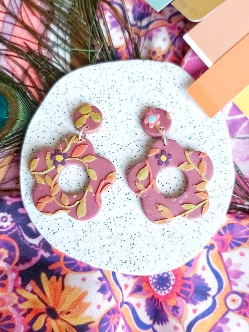 Tehran Berry Bloom Cutout Designer Dangles - Polymer Clay