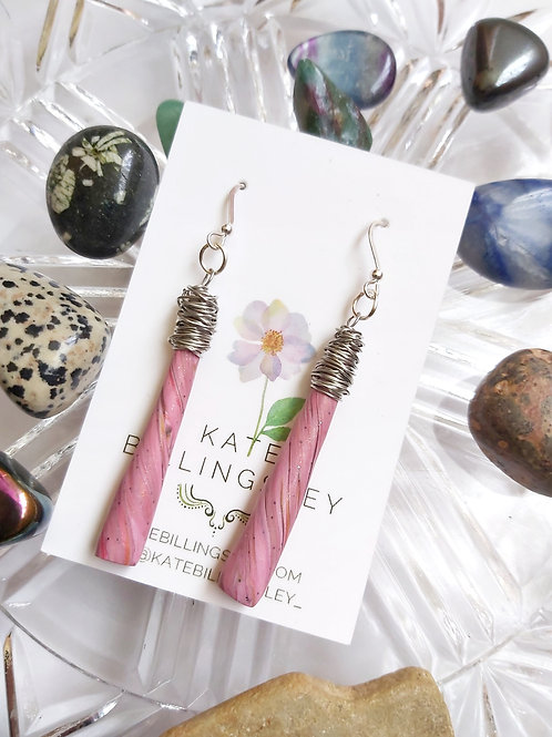 Wrapped Cane Dusky Pink Marble Designer Dangles - Polymer Clay