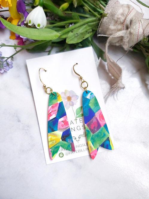 Rainbow Patchwork Designer Dangles -  Polymer Clay
