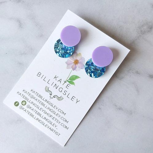 Venn Drop Studs - Lilac over Pool Blue Hexie Glitter