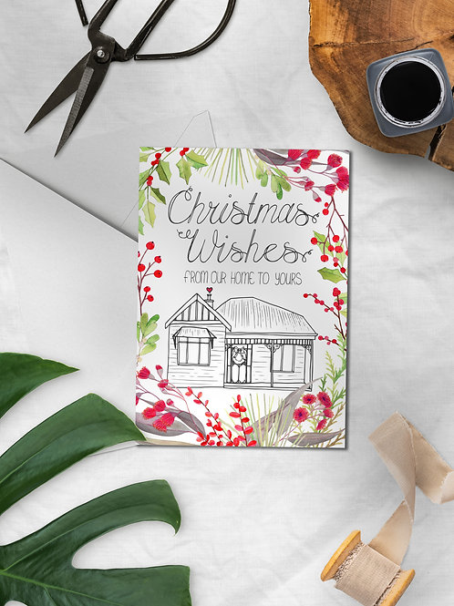 Christmas Wishes White Australiana Greeting Card