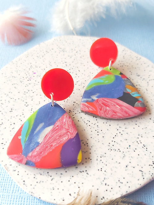 Birdy Bop Small Rounded Triangle Designer Dangles - Polymer Clay
