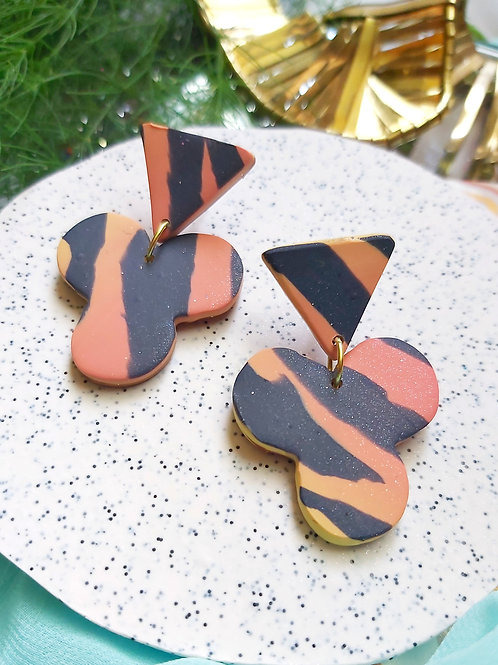 Spirit Animal Tiger Stripe Shamrock Designer Dangles - Polymer Clay