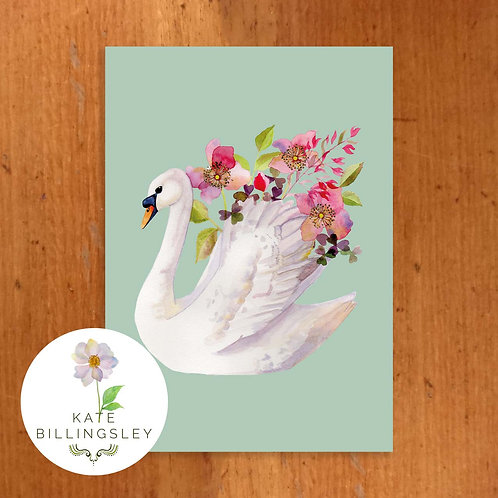 Blue Swan Vase Greeting Card