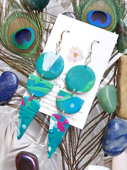 Under the Sea Long Mega Designer Dangles - Polymer Clay