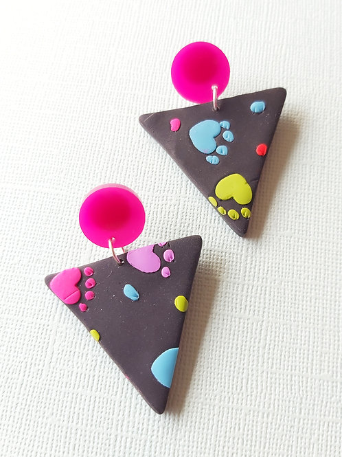 Kitty Whiskers Large Delta Designer Dangles - Polymer Clay
