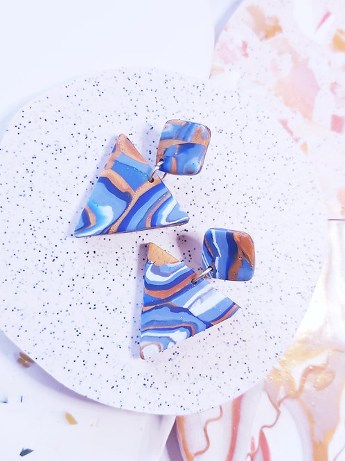 Geode Small Triangle Designer Dangles - Polymer Clay