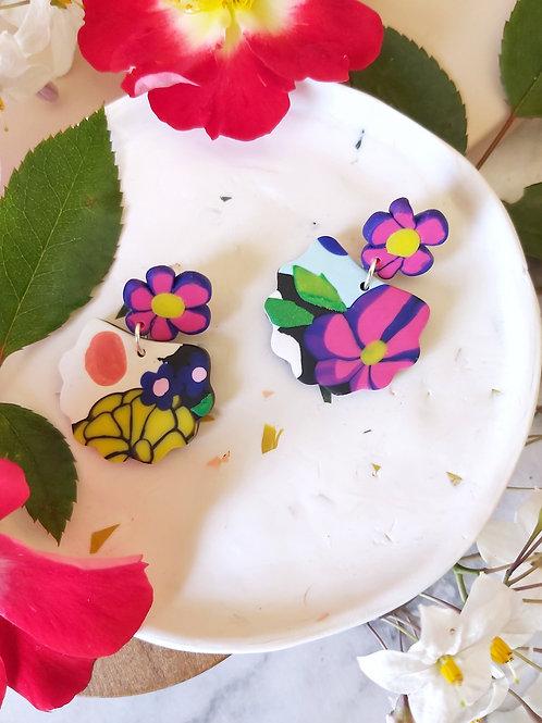 Flower Power Lorelei Designer Dangles - Polymer Clay