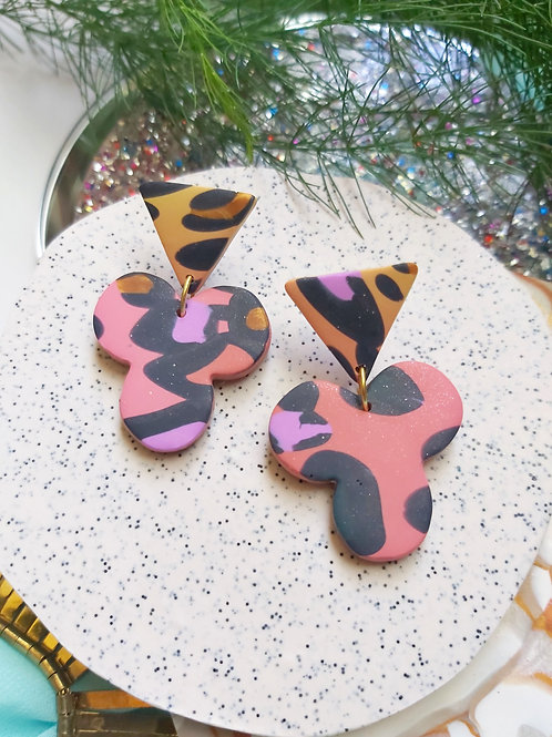Spirit Animal Yellow Coral Shamrock Designer Dangles - Polymer Clay