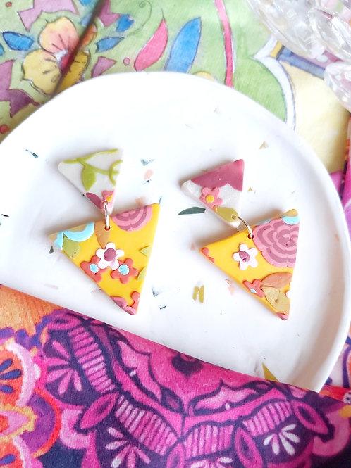 Tehran Small Triangle Yellow Designer Dangles - Polymer Clay