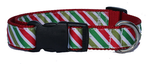 Green and Red Stripes Trimmed Collar
