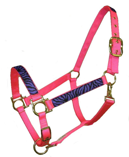 Purple Zebra Trimmed Halter