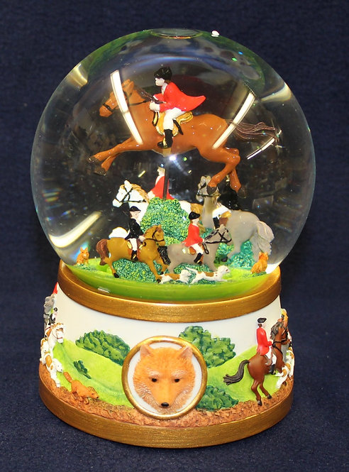 Fox Hunter Musical Snow Globe