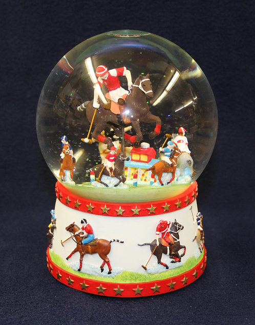 USA Polo Player Musical Snow Globe