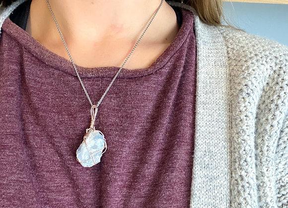 Blue Celestite Rough Necklace Piece