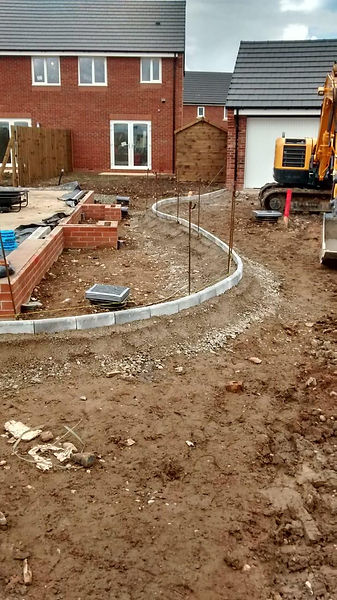 Groundworks, radius edgings for entrance to driveway