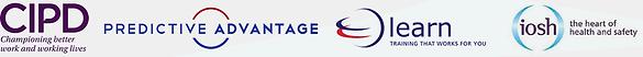 Logos for CIPD, IOSH, LEARN, PREDICTIVE ADVANTAGE