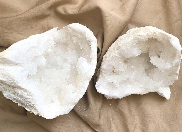 White Quartz Geode ( 1 pair)