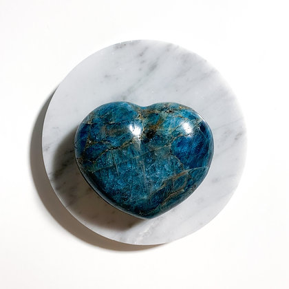 Hand - Carved Blue Apatite Heart