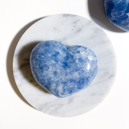 Hand-Carved Blue Calcite Heart