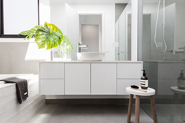 Modern White Vanity - Corfield Bathrooms