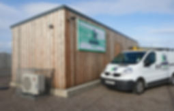 Korrie office heated using an Ecodan air source heat pump