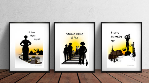 Serie på 3 kunsttrykk + kort med dikt