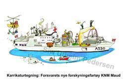 Kakrikaturtegning av Forsvarets nye forsyningsskip