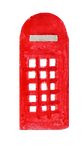 watercolor illustration of a red phone booth, as might be found in London.