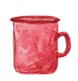 watercolor illustration of a red coffee mug