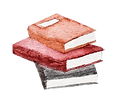watercolor illustration of a stack of books (orange, red and black)