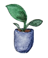 watercolor illustration of a house plant in a deep purple-blue planter
