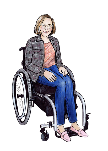 Illustration of Claire Forrest by illustrator Claire Ward. Claire is wearing jeans, a plaid button down and coral sequin top, with pink penny loafers. Claire is seated in her wheelchair, hands in her lap and smiling.