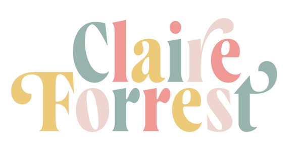 "colorful logo wordmark reading ""Claire Forrest"" in a multicolor font (golden yellow, grayish green-blue, muted light pink, and a coral pink)"