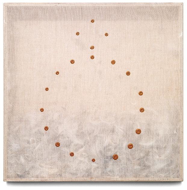 4 Piumario, 1982 , organza, piume, oro-