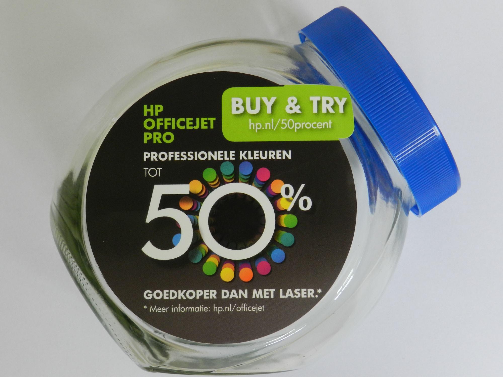 Snoeppot Stickerbedrukking